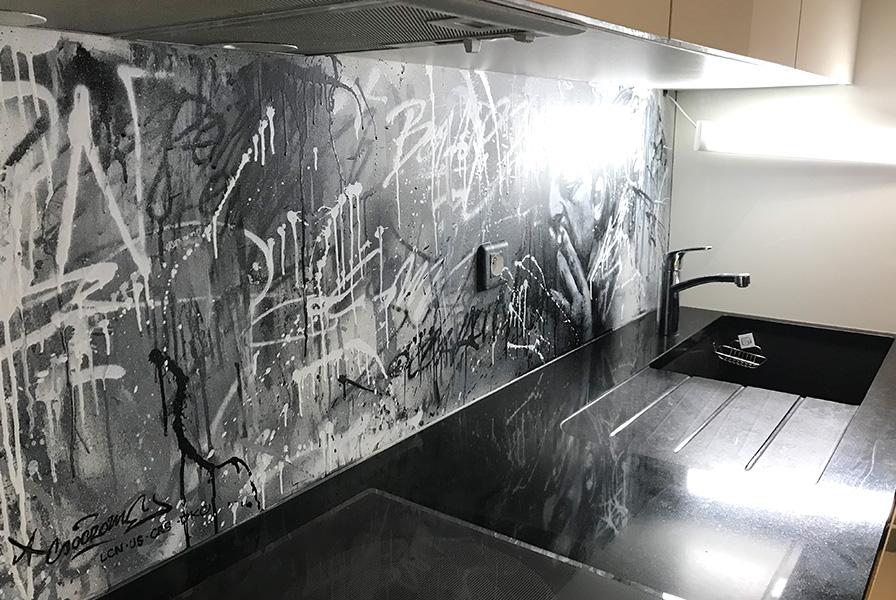 Cuisine, graff, décoration, plan, art, moderne, street art, texture