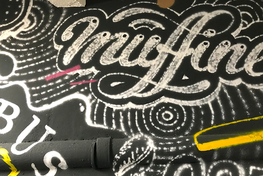 typographique, handlettering, tableau, craie