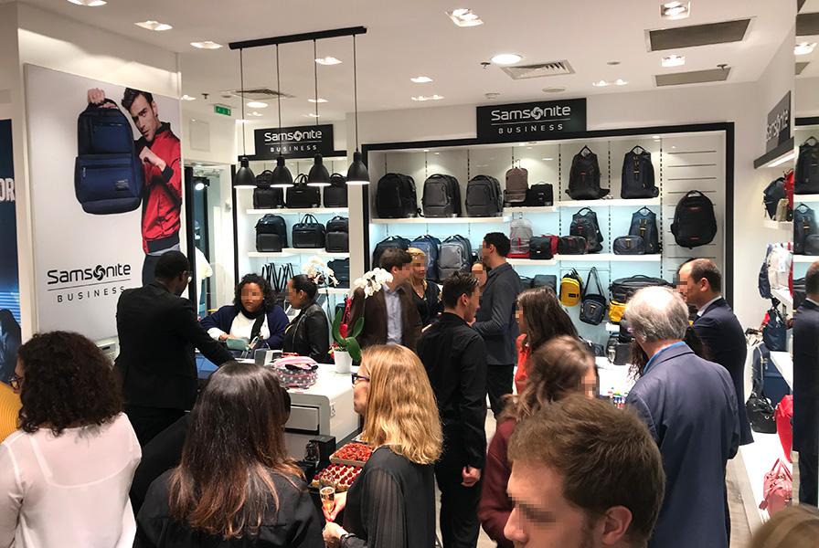 inauguration, ouverture, boutique, Paris, Samsonite, invités, clients