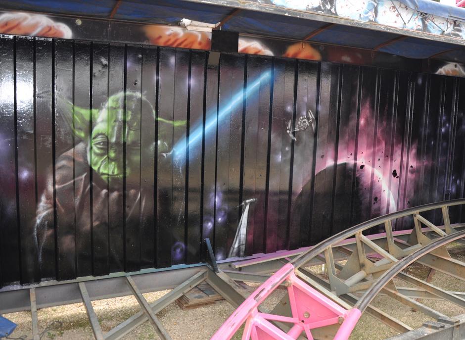 Maître Yoda, Jedi, Star Wars, La guerre de étoile, planète, espace, graff, graph, graphiti, graffiti, Foire du Trône, Tagg