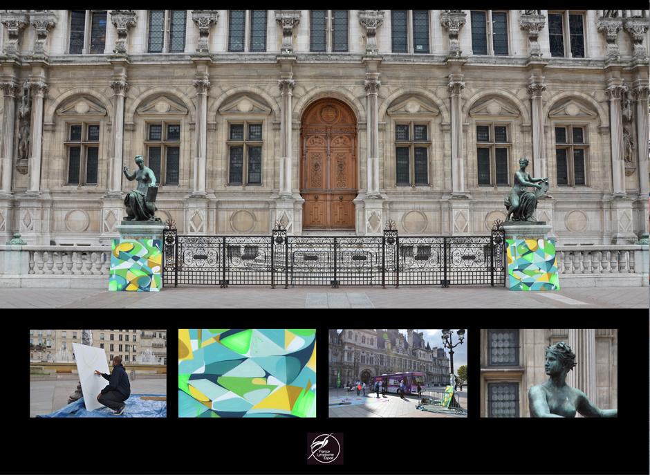 Performance live de street art, Paris, en direct, façade, Paris, contraste