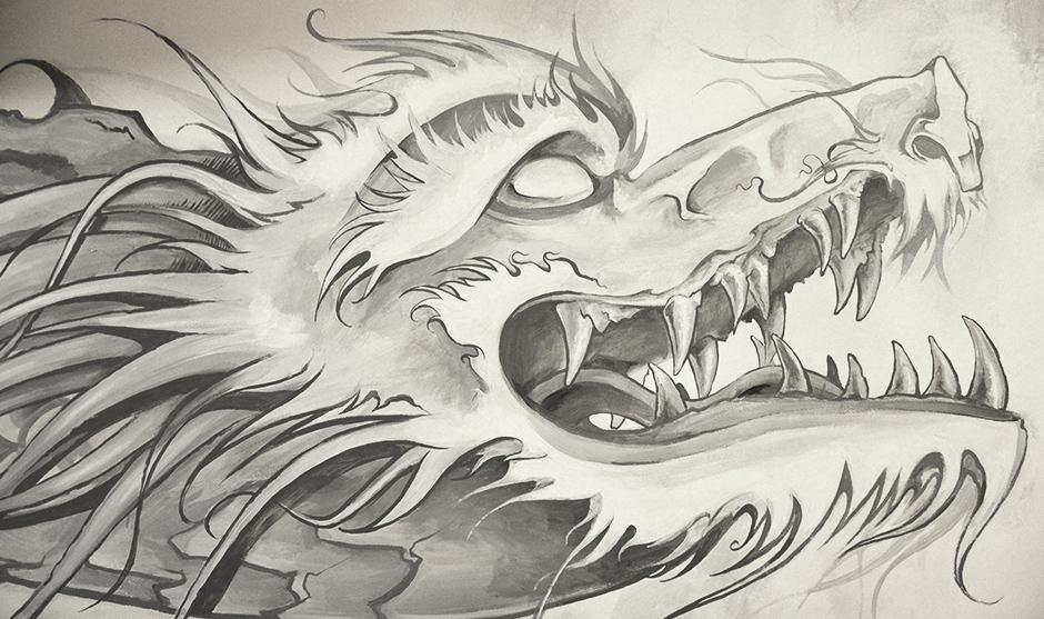 Monochrome gris de cette représentation traditionnel du dragon impérial