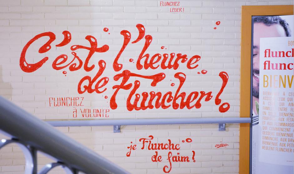 décoration des escaliers des entrée des restaurants Flunch