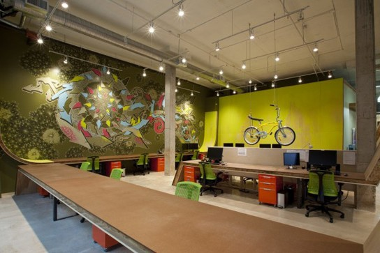 peintures et fresque dans des locaux d'agences de com