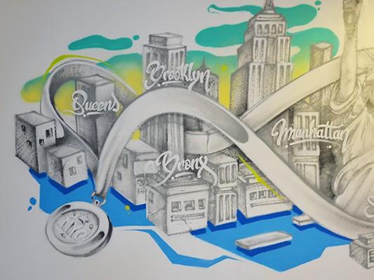 Illustration d'une médaille flottant entre les quartiers de New York