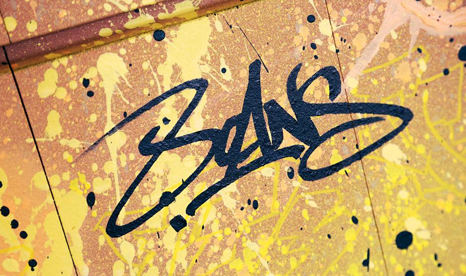 tag, marqueur, graffiti, fond jaune dynamique, puissance