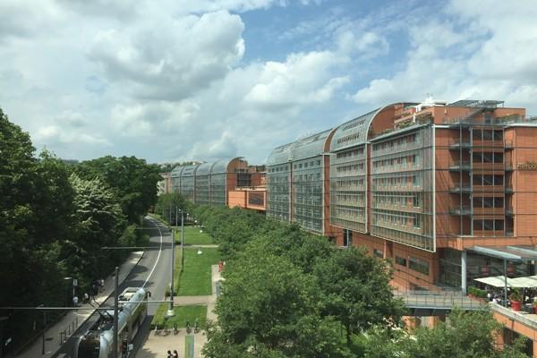 bâtiment, terre cuite, cité, congrès, vitre