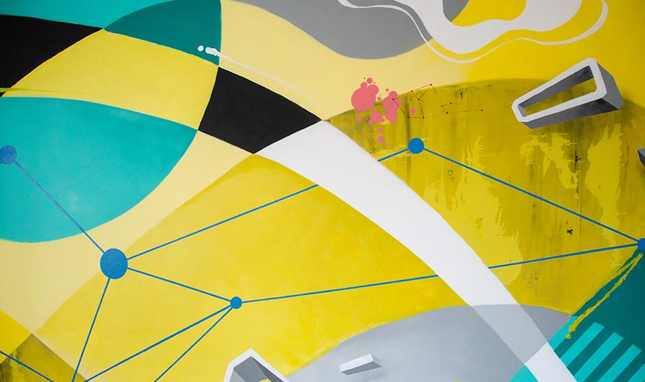 Mur abstrait, mélange d'applats de couleurs, de textures et de trames.