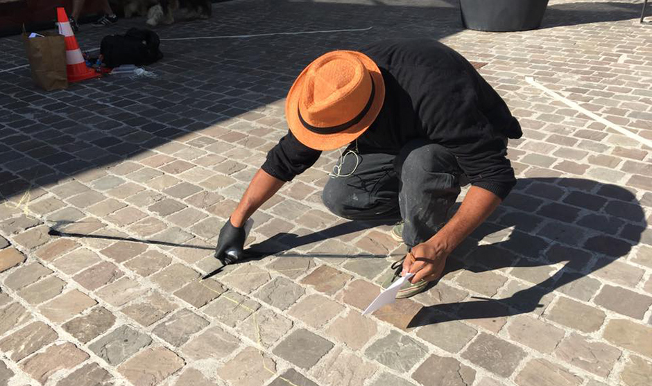 fresque peinture trompe l'oeil au sol artiste Bourges