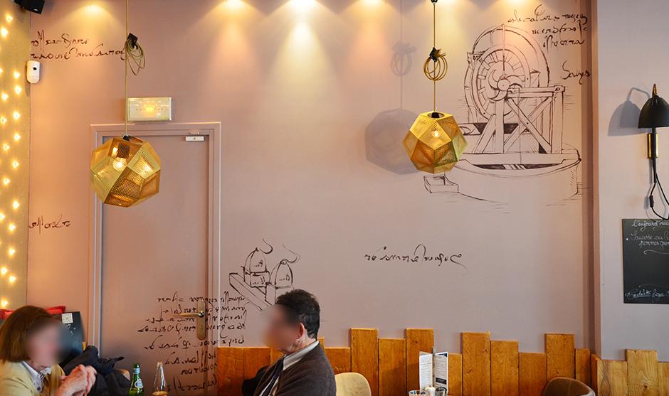 hommage, Leonard de Vinci, fresque murale, habillage, décoration intérieur.