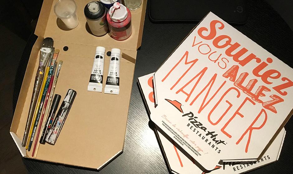boîtes de pizza, acrylique, matériel, peintre