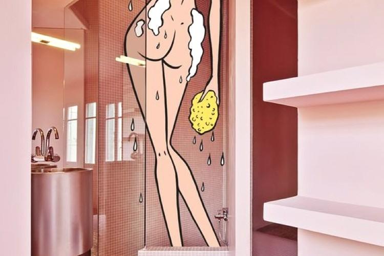 décoration, salle de bain, décalée, dessin, paris, pop, comics