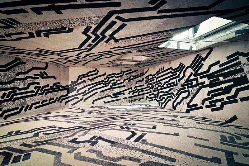 Oeuvre, abstraite, Lek, Street Art, Graffiti