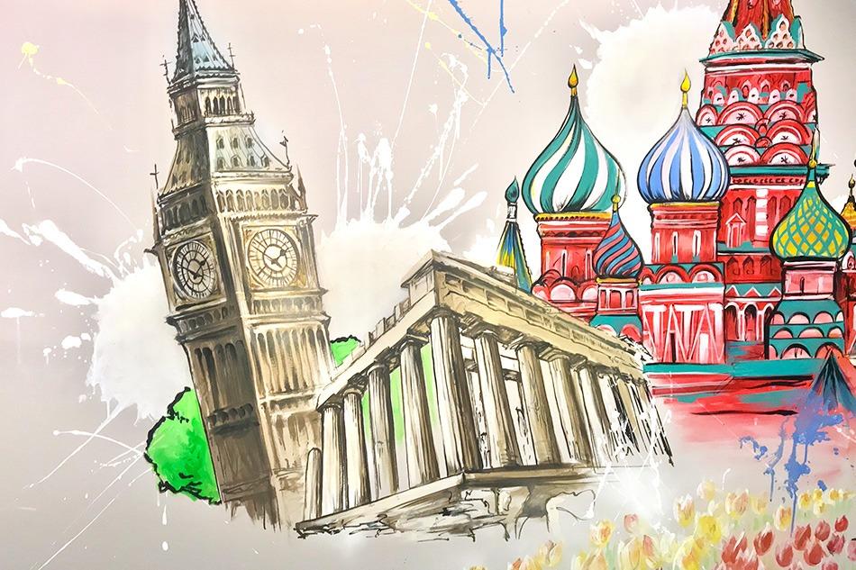 graffiti, street art, monument, Big Ben, Panthéon, Place Rouge, fresque, art, mur, bureaux