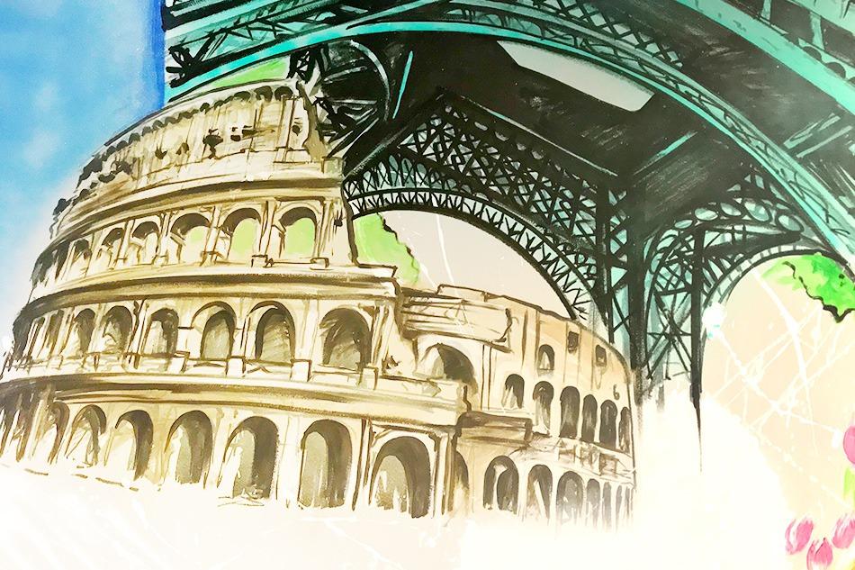 peinture, représentation, fresque murale, collisée , Italie, Tour Eiffel, Fresque Murale