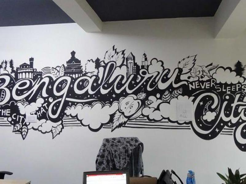 graffiti, noir et blanc, décoration, intérieure, bureaux, paris, salle de réunion