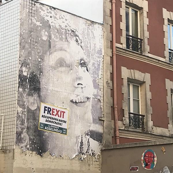 Portrait, géant, graffiti, Street Art, Paris