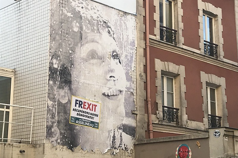 Portrait, géant, graffiti, Street Art, Paris