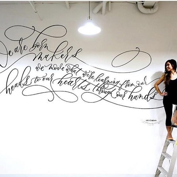 calligraphe, typographe Angelique Ink, fresque