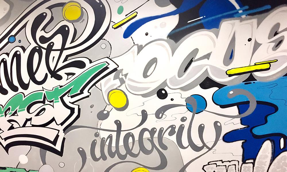 Fresque murale, graphique, dynamique, vivante, valeurs, corporate, arty