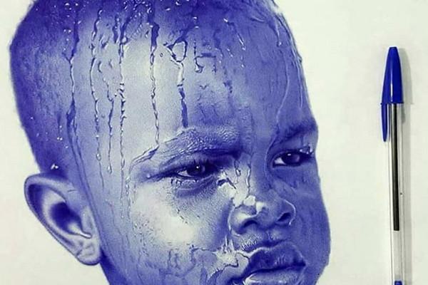 Personnage, portrait, Stylo bic, art, bleu