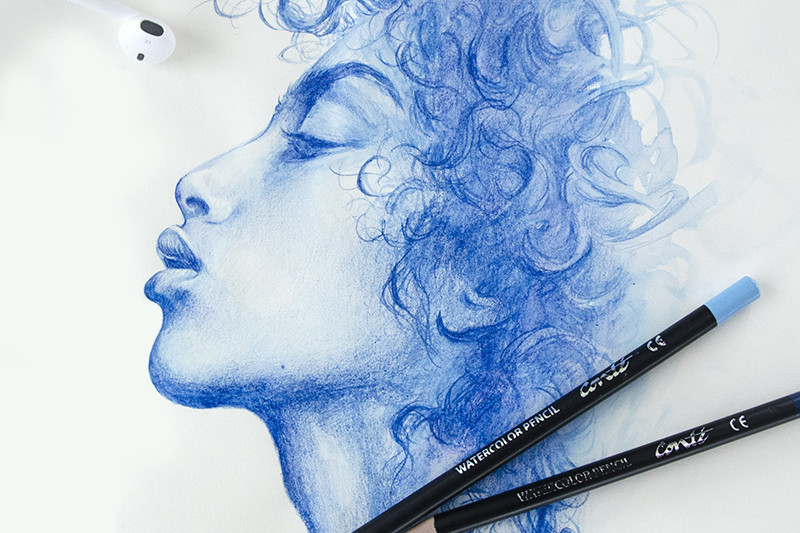 Imaan Hammam, portrait, brush, aquarelle, pinceau
