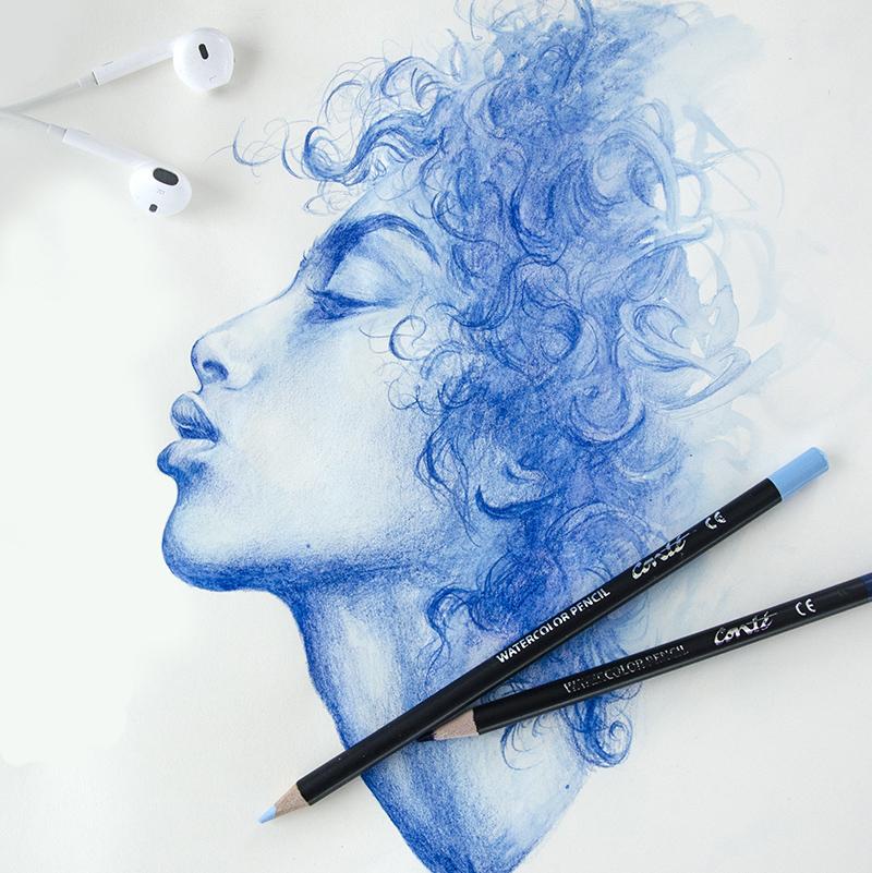 Imaan Hammam, portrait, brush, aquarelle, pinceau