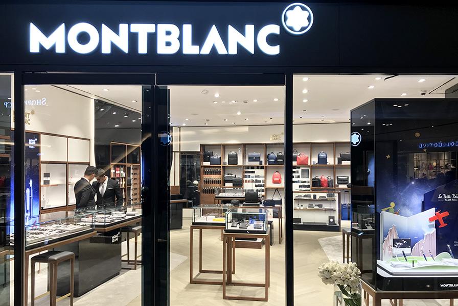 boutique, montblanc, vitrine, façade, événement