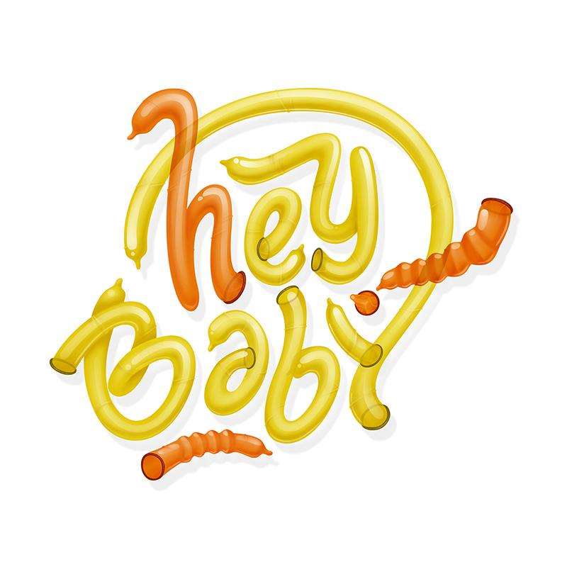 Hey, baby, condoms, jaune, orange