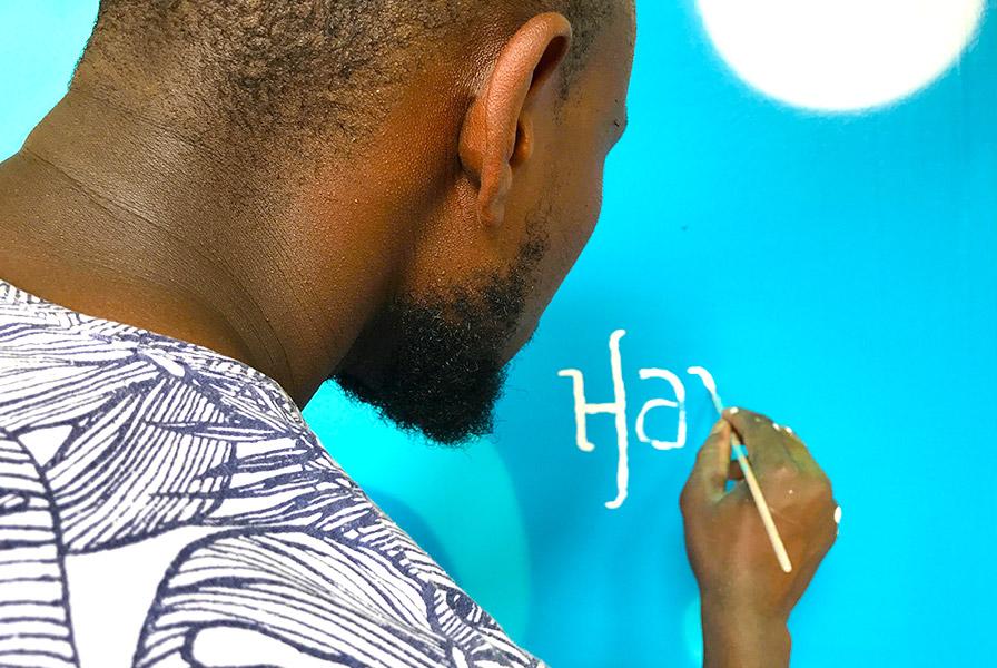 Pinceau, signature, artiste, Hamou, calligraphe