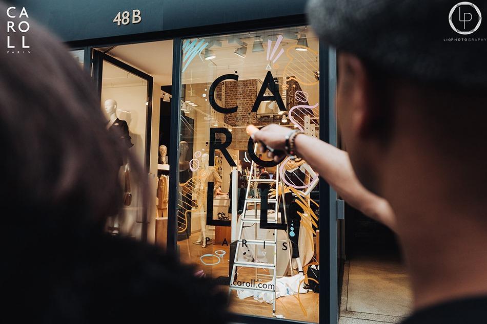 Intervention, artiste, vitrine, boutique, art, Caroll, évent, Bruxelles