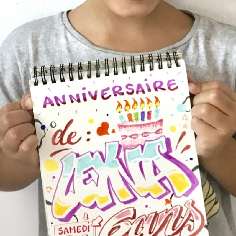carte, anniversaire, graffiti, couleurs, street art