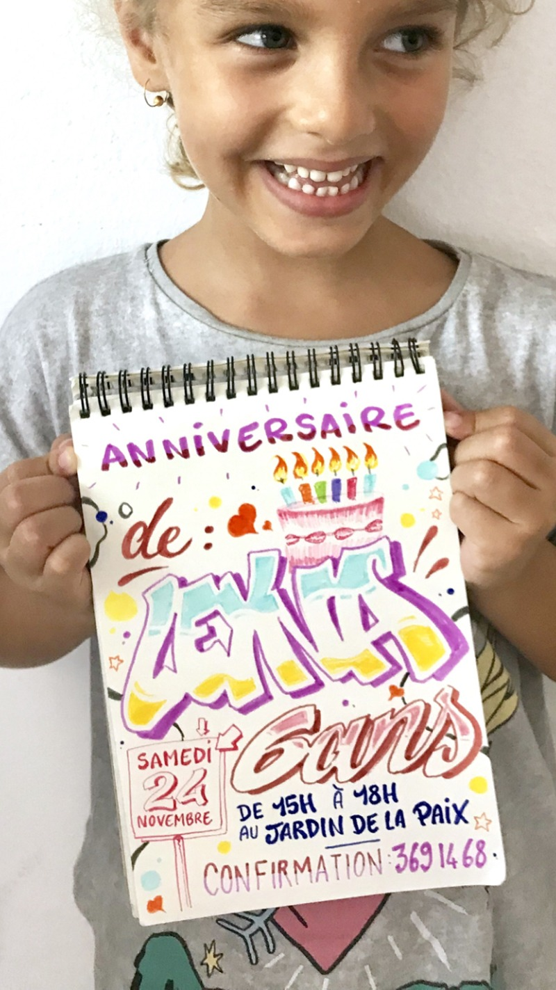 carte, anniversaire, graffiti, couleurs, street art
