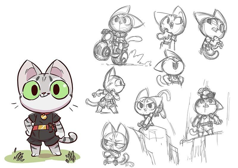 croquis, recherches, personnage, petit chat, illustration, art