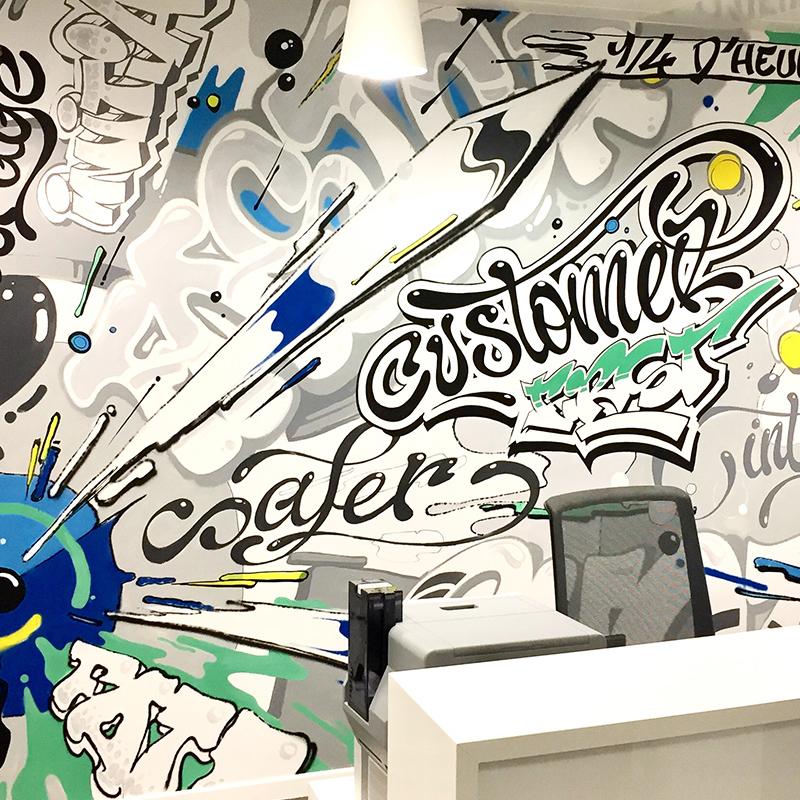 fresque graffiti, street art, Couleurs, dynamisme, moderne, urbain.
