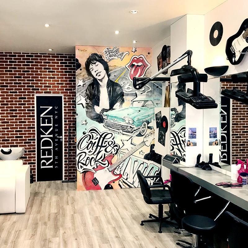 Décoration, fresque murale, paris, parisien, street art, graff, coiffure, salon, rock