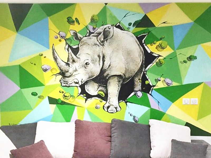 Fresque, graffiti, Rhinocéros, art, graff, tags, street art