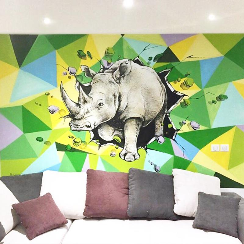 Fresque, graffiti, Rhinocéros, art, graff, tags, street art