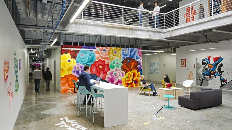 Fresque, décorative, habillage, street, urban, graffiti, open space