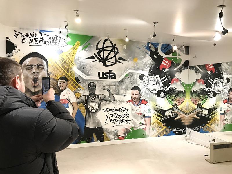 Salle, sport, USFA, footballeurs, graffiti, décoration, art, street