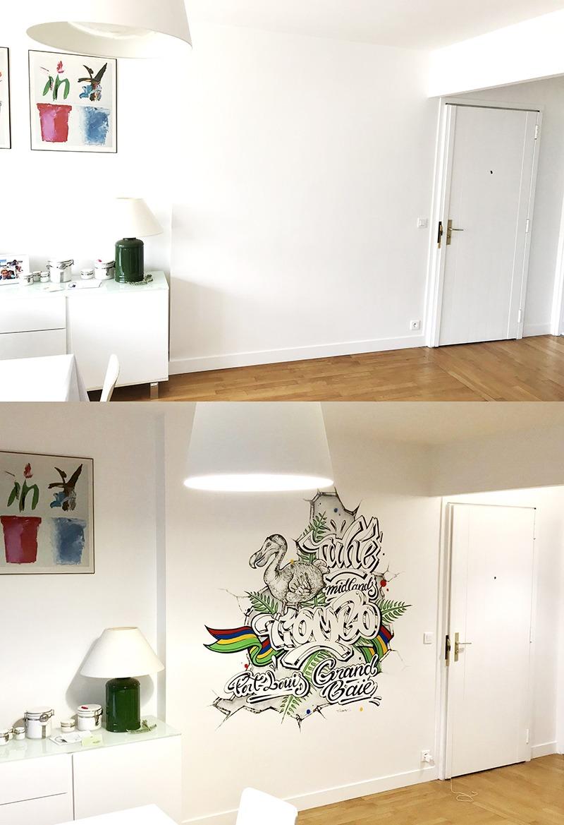Avant, Après, Ile Maurice, graff, décoration, intérieure