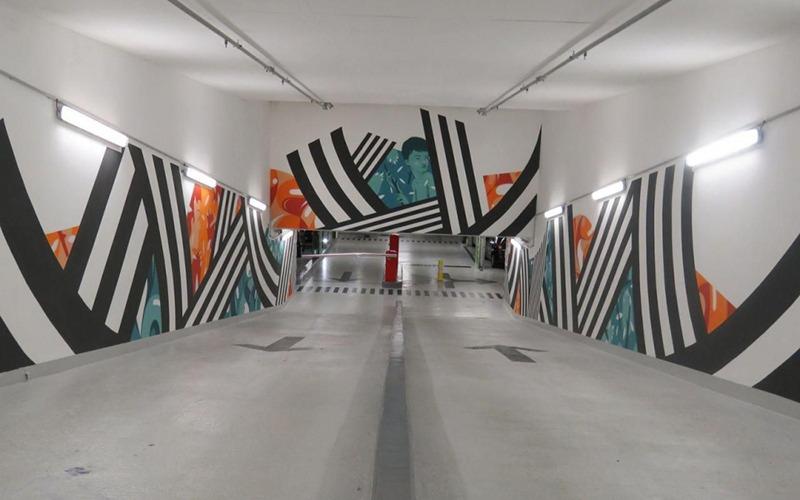 entrée, descente, parking, graffiti, art