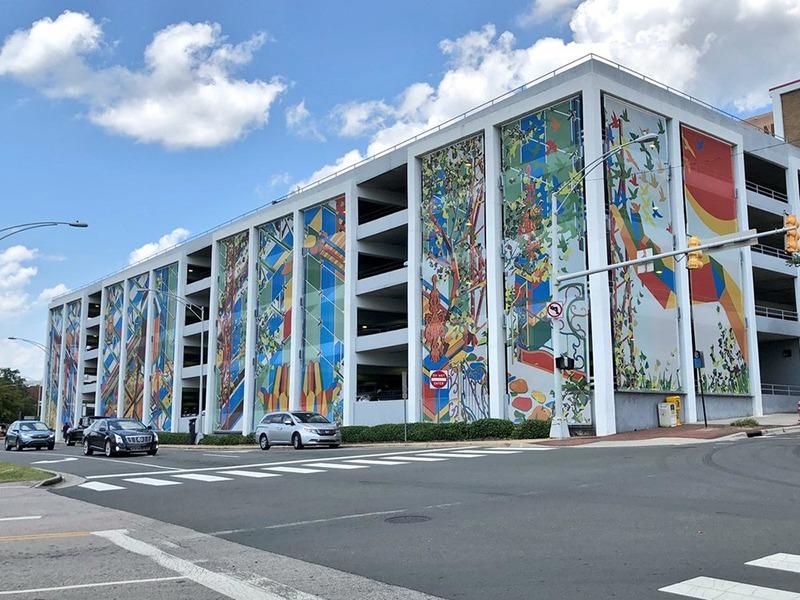 Projet, parking, habillage, graffiti, street art
