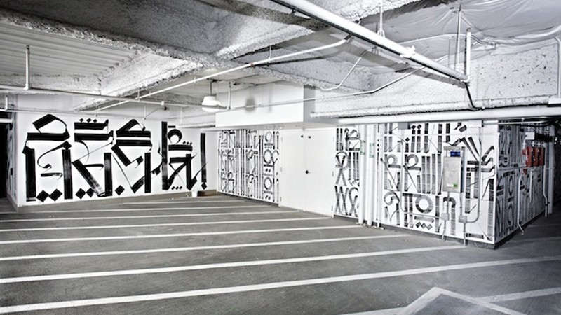 Retna, décoration, street art, Graffiti, parking, habillage