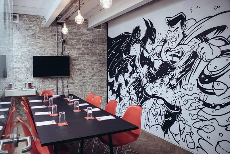 Décoration, fresque, murale, salle, réunion, Paris
