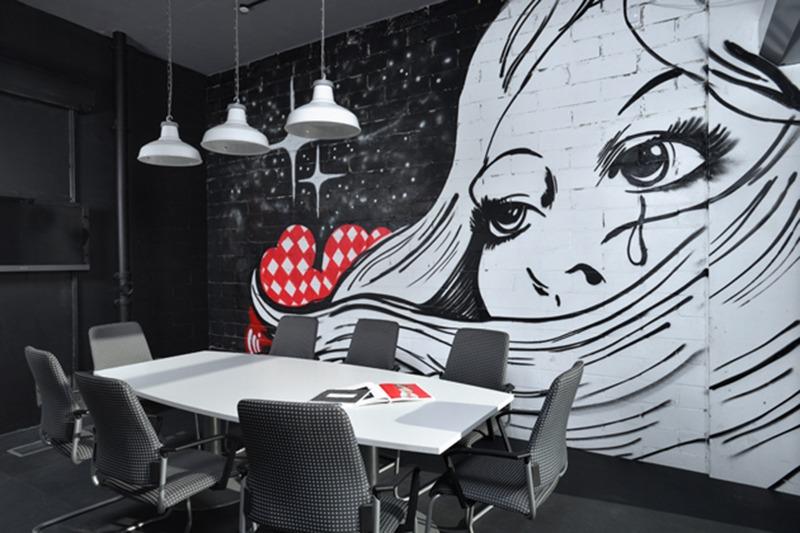 Décoration, graffiti, art, street art, noir et blanc, salle