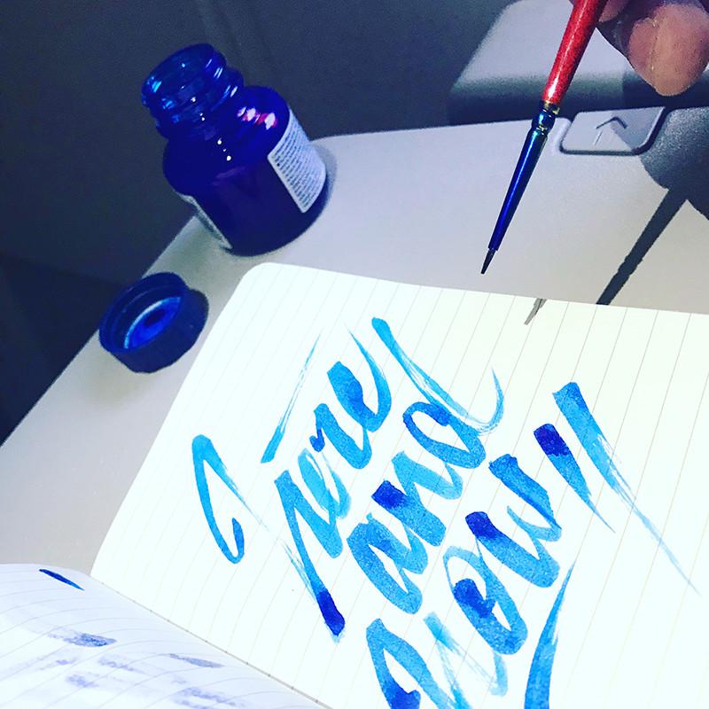 calligraphy, blue, avion, quick, encre, pinceau