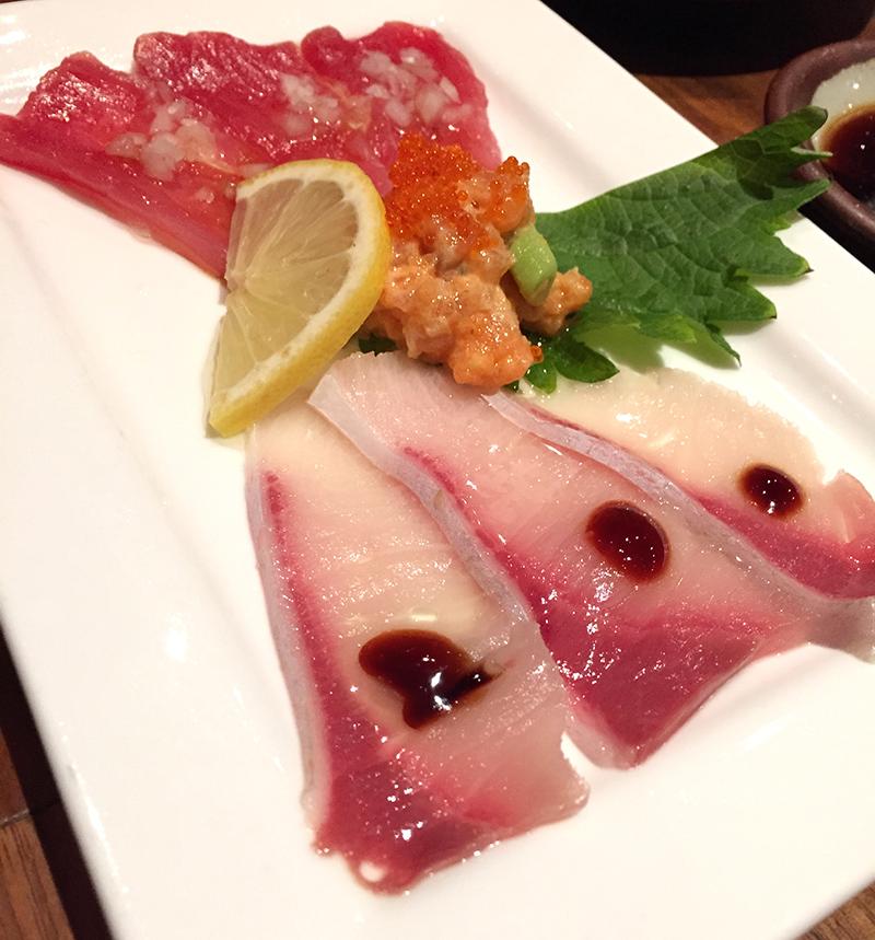 tranches, sashimis, poisson, cru, couleurs, rouge, thon