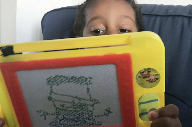 improvisation, enfant, tablette graphique, jouet