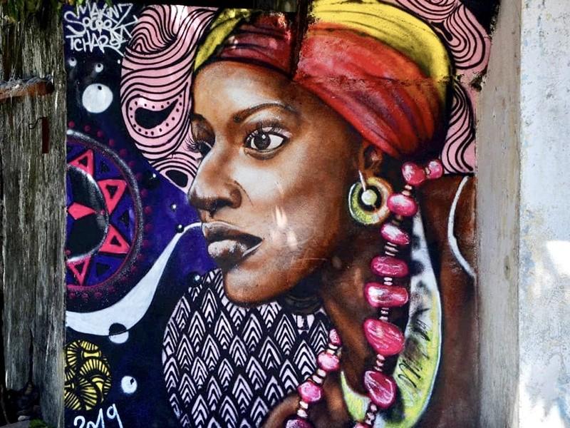 Street art, graffiti, africain, comores, portrait
